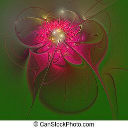 illustration background fractal shining flower on a green...