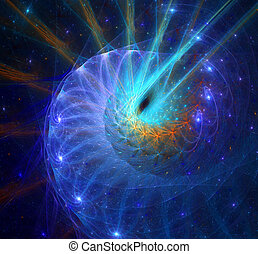 illustration background fractal space with spirals and stars