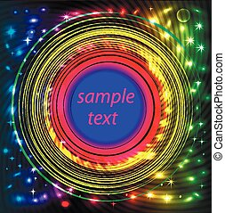 background frame abstract bright neon with rotation