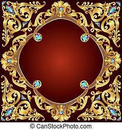 illustration background frame red with gold(en) pattern