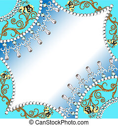 background frame with flowers made ??of precious stones wit