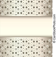 background frame with flowers of silk with metal luster