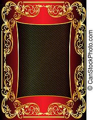 illustration background frame with gold