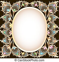 background frame with gold ornament in the form of a peacock...