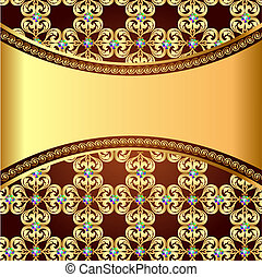 illustration background frame with precious stones and the...