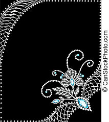 background frame with jewels of silver ornaments -...