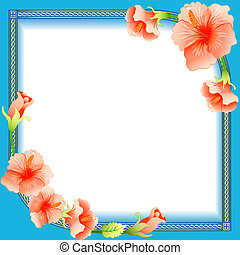 background frame with ornament and flowers