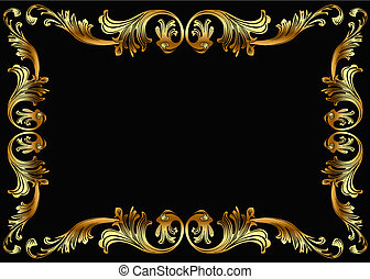 background frame with vegetable gold(en) pattern