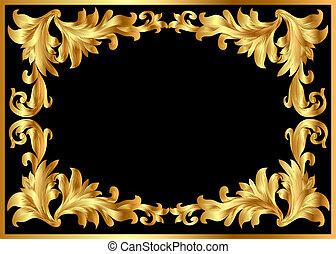 illustration background pattern frame from gild on black...