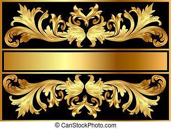 illustration background pattern frame from gild on black background