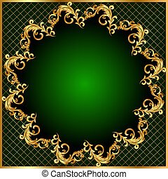 background pattern gold on green background