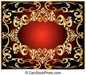 background pattern gold on red background