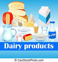 Illustration background set of dairy products with cheese, kefir, sour cream, cottage cheese and ice cream.
