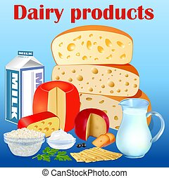 Illustration background set of dairy products with cheese, sour cream, cottage cheese and ice cream.