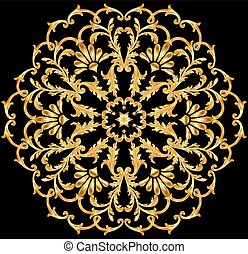 illustration background with a circular gold ornaments