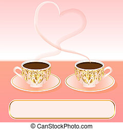 background with a cup of coffee and heart