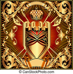 background with a gold shield arms and crown