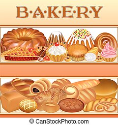 Illustration background with a set of different bread and bakery goods textual inscription