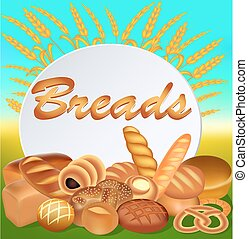Illustration background with a set of different bread with ears and a text inscription bread