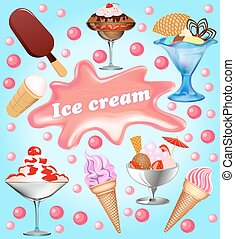 Illustration background with a set of fruits ice-cream