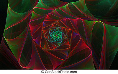 background with a spiral fractal bright flower with loops -...