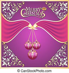 illustration background with ball on cristmas and gold pattern