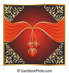 background with ball on cristmas and gold pattern