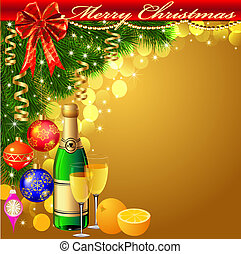 illustration background with balls and glasses of champagne with Christmas tree