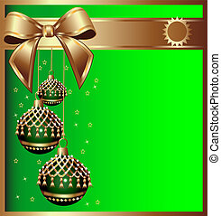 background with bow on cristmas and ball with tassel