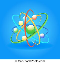 illustration background with bright shiny atom on a blue