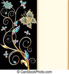 illustration background with butterflies and ornaments made ...