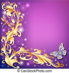 illustration background with butterflies and ornaments made of precious stones