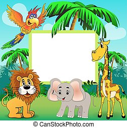 Illustration background with giraffe elephant lion and parrot on nature with palm trees and place for text