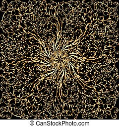 illustration background with gold ornaments on black