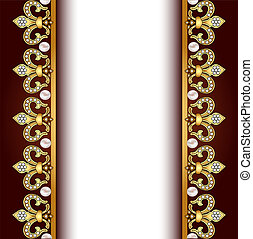 background with gold ornaments and pearls
