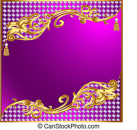 illustration background with gold ornaments and precious stones tassels