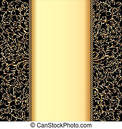 background with gold ornaments and strip for text