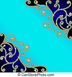 background with gold pattern of precious stones