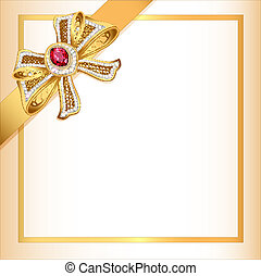 background with gold ribbon and jewels - illustration...