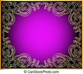 background with gold(en) ornament on lilac and black -...