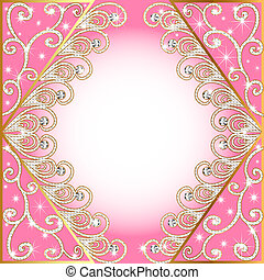 background with gold(en) pattern and diamond - illustration...