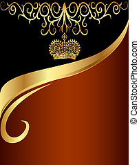 background with gold(en) pattern and with tsarist crown