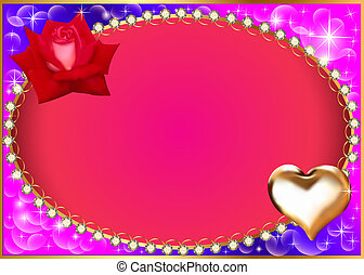 background with heart and rose diamond