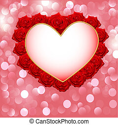 background with heart made of roses for wedding invitation