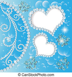 background with hearts and butterflies made ??of precious s...