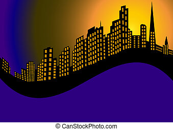 illustration background with night city and high house