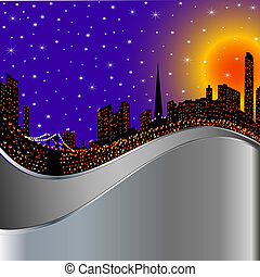 background with night city illuminated by lights