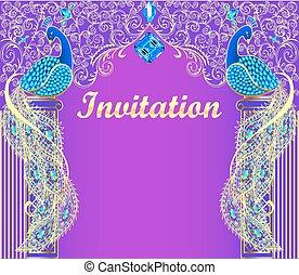 illustration background with peacock with gold ornament and precious stones