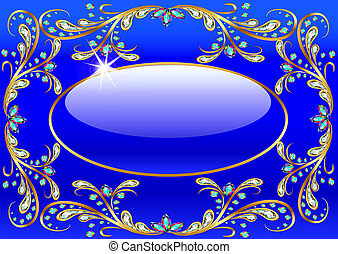 illustration background with precious stones, gold pattern and the glass ball