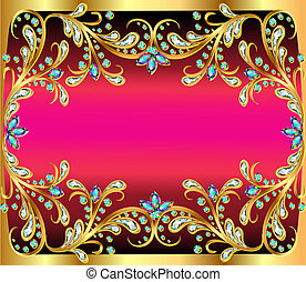 illustration background with precious stones, gold pattern